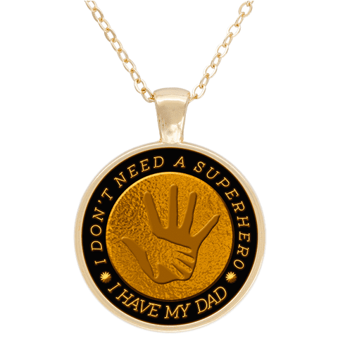 """Best Gift for DAD"" Super Hero Gold Plated Round Necklace"