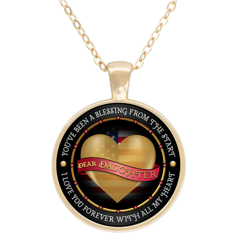 """Dear Daughter Love You With All My Heart"" USA Flag Gold Plated Round Pendant"