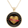 "Image of ""Dear Daughter Love You With All My Heart"" USA Flag Gold Plated Round Pendant"