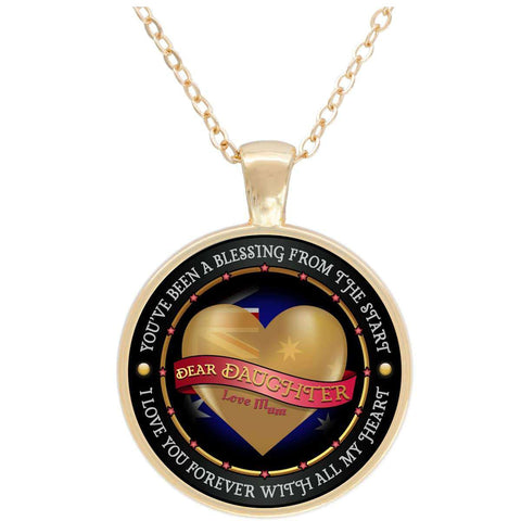 """Dear Daughter Love Mum"" - AUS Flag Gold Plated Round Pendant"