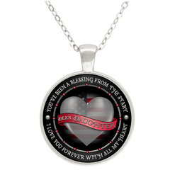 """Dear Daughter Love You With All My Heart"" USA Flag Round Silver Plated Pendant"