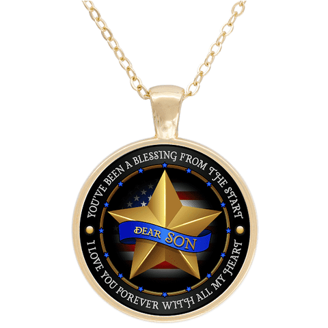 """Dear Son Love You With All My Heart"" USA Flag Gold Plated Round Pendant"