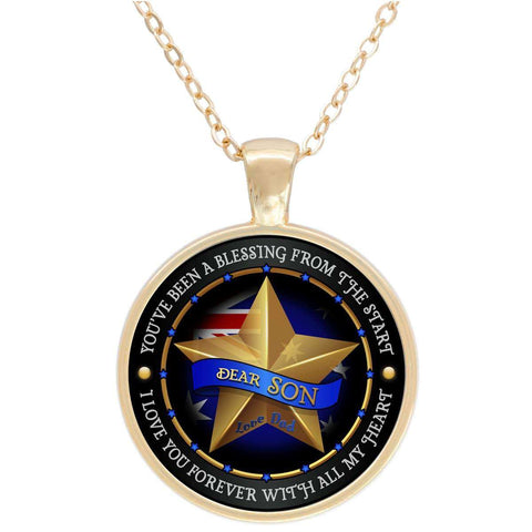 """Dear Son Love Dad"" - AUS Flag Gold Plated Round Pendant"