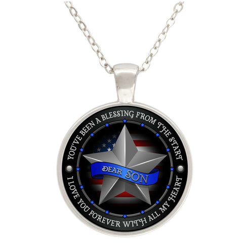 """Dear Son Love You With All My Heart"" USA Flag Silver Plated Round Pendant"