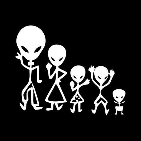 Alien Family Car Stick On Decals