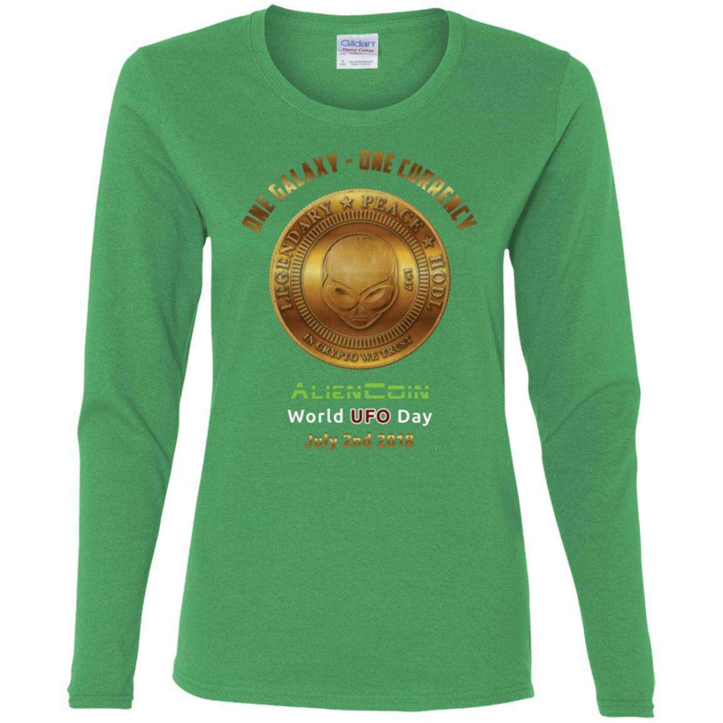 """One Galaxy One Currency AlienCoin"" World UFO Day Ladies' Cotton Long Sleeve Shirt"