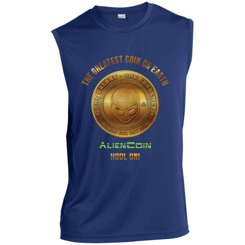 AlienCoin HODL ON! Men's Sleeveless Performance Limited Edition T-Shirt