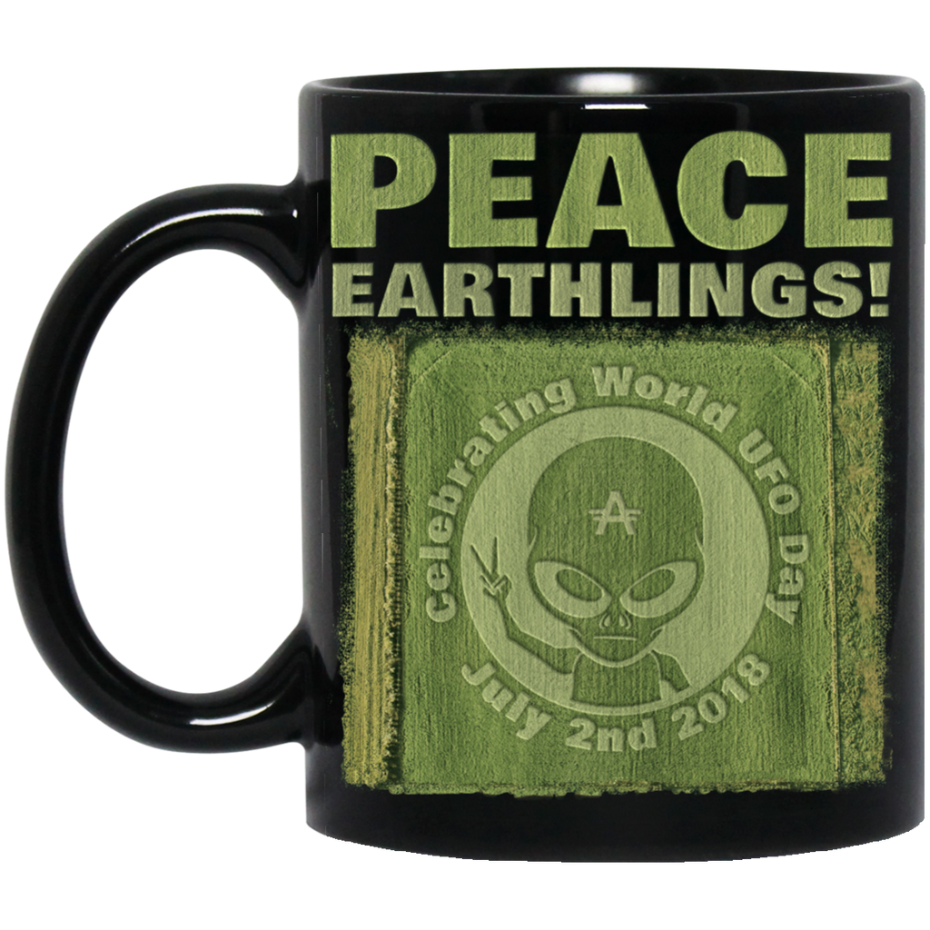 "World UFO Day 2018 ""Crop Circle"" Black Mug"