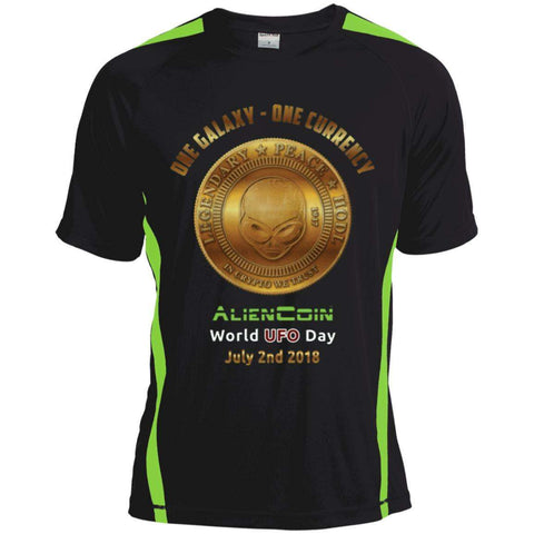 """One Galaxy One Currency AlienCoin"" World UFO Day Men's Colorblock Dry Zone Crew Shirt"