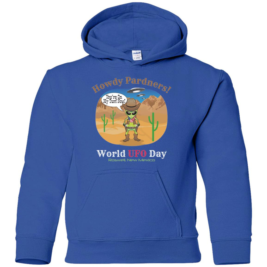 Howdy Pardners! World UFO Day 2018 Cowboy Youth Unisex Pullover Hoodie