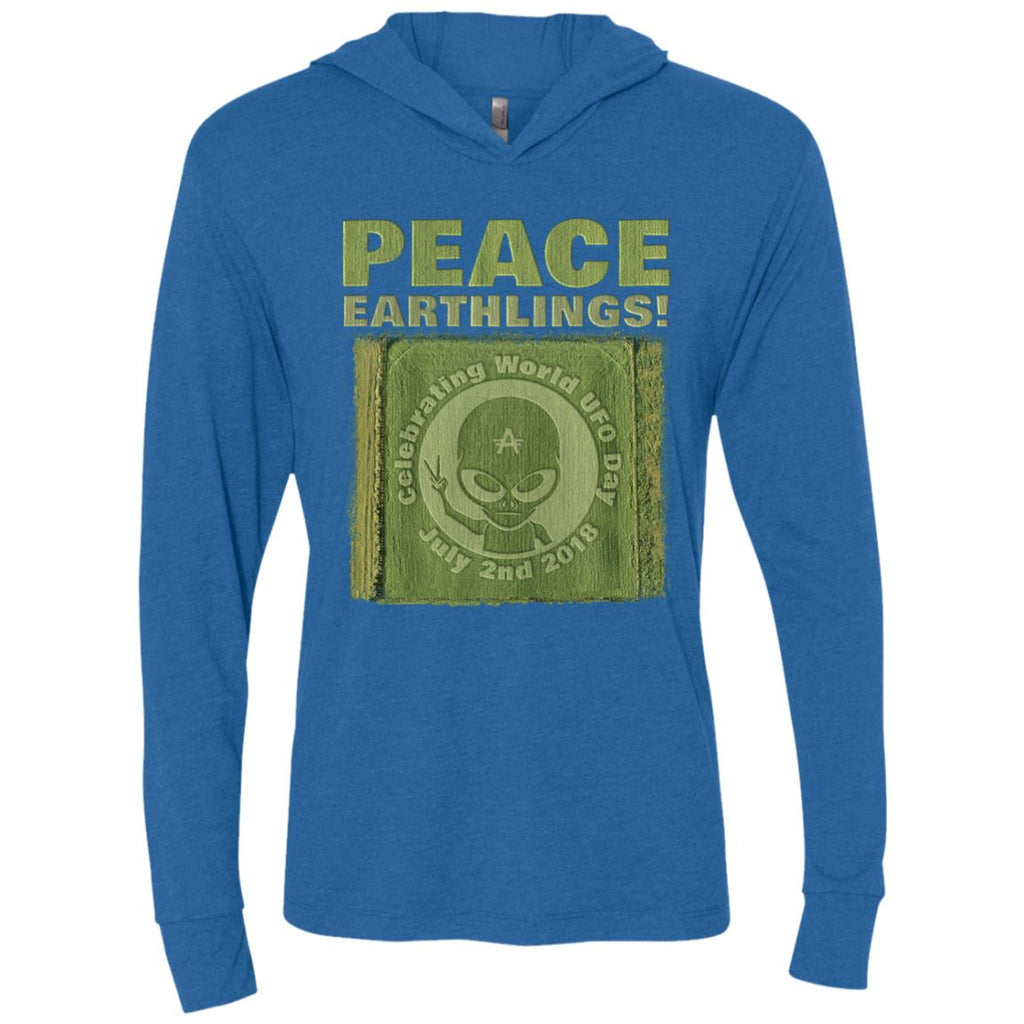 "World UFO Day 2018 ""Crop Circle"" Men's Long Sleeve Hooded Shirt"