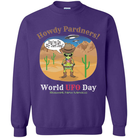 Howdy Pardners! World UFO Day Men's Crewneck Pullover Sweatshirt