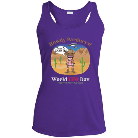 "ALIEN COWGIRL ""Howdy Pardners"" Ladies' Moisture-Wicking Racerback Tank"