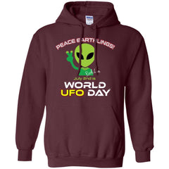 "World UFO Day 2018 ""Peace Earthlings"" Unisex Hoodie - Limited Edition"