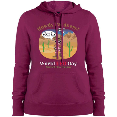 "ALIEN COWGIRL ""Howdy Pardners"" Ladies' Pullover Hooded Sweatshirt"