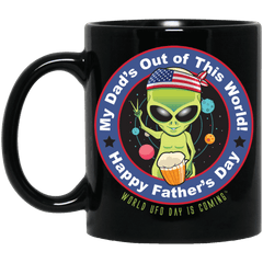 ALIEN Happy Father's Day Black Mug