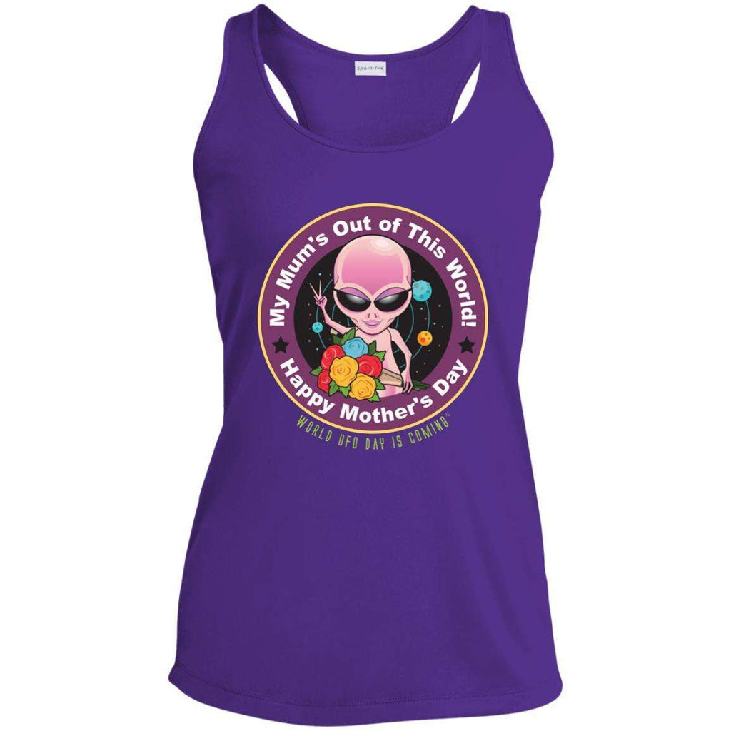 "ALIEN Mothers' Day ""My Mum's Out of This World"" Ladies Moisture Wicking Racerback Tank"