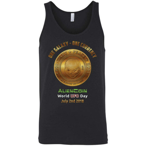 """One Galaxy One Currency AlienCoin"" World UFO Day Men's Tank Top"