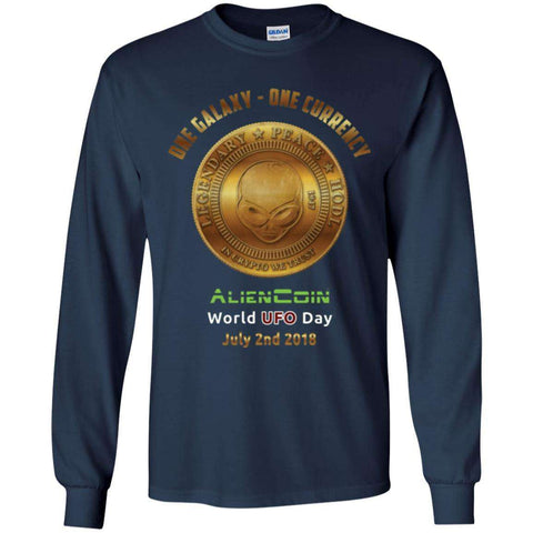 """One Galaxy One Currency AlienCoin"" World UFO Day Men's Long Sleeve Ultra Cotton T-Shirt"