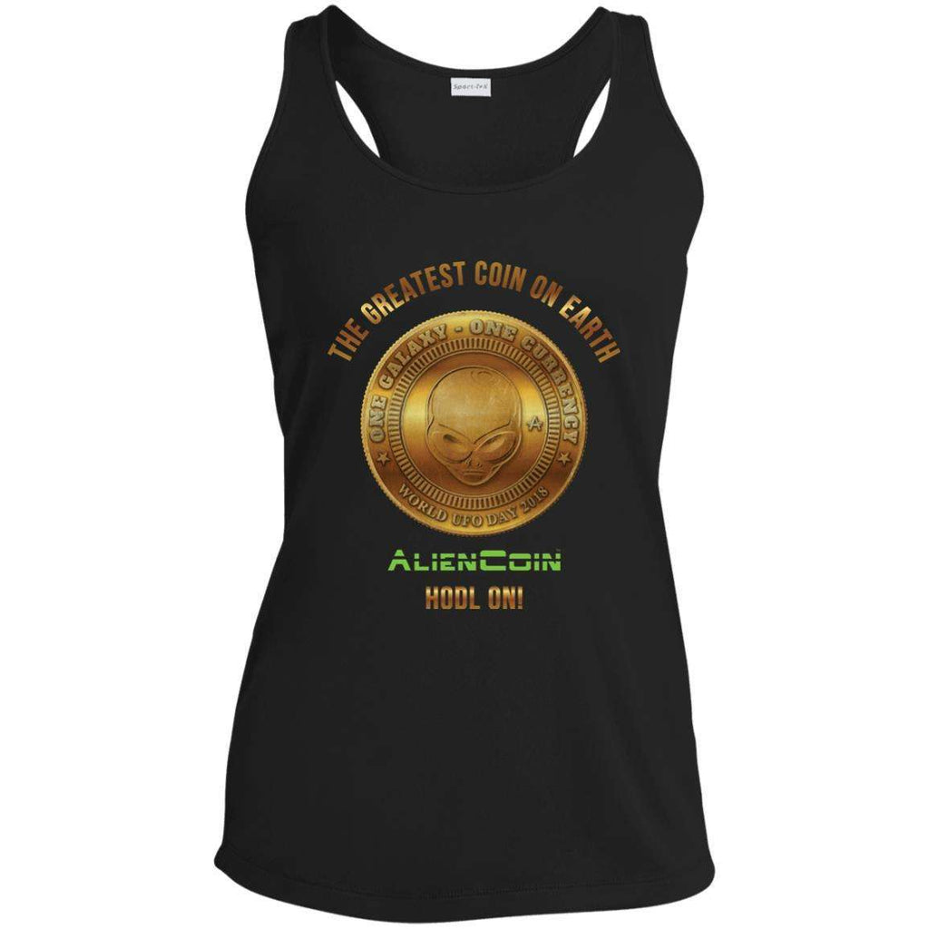 AlienCoin HODL ON! Ladies' Racerback Moisture Wicking Limited Edition Tank