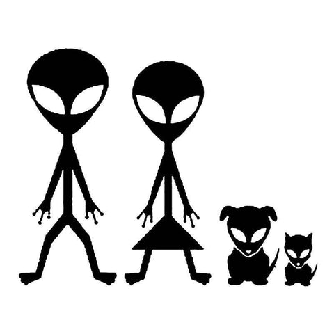 Alien Pet Family Decal for Cars and Other Smooth Surfaces