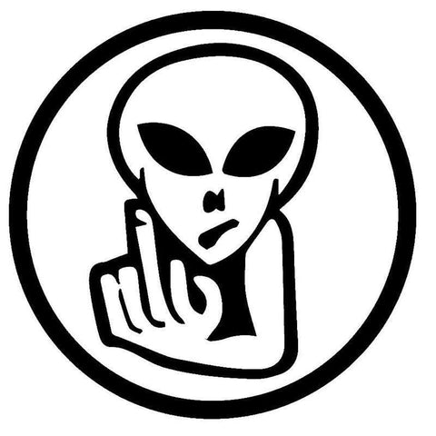 Alien Bird FInger Gesture Decal for Cars and Other Smooth Surfaces