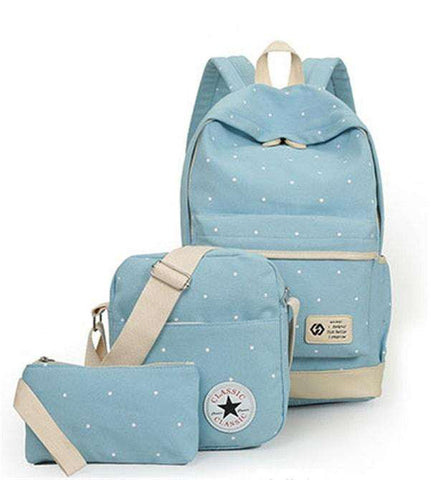 Canvas 3-Piece Backpack Set