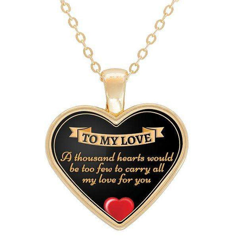A Thousand Hearts Gold Plated Heart Shaped Necklace - -