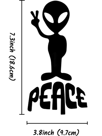 Peace Alien Decal for Cars and Other Smooth Surfaces - 7.3 inch x 3.8 inch
