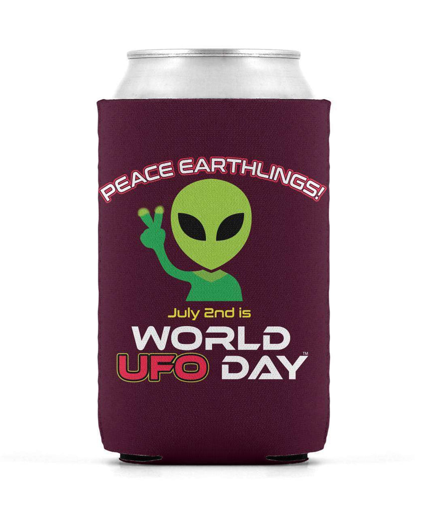 "World UFO Day ""Peace Earthlings"" Neoprene Can Sleeve (Koozie)"