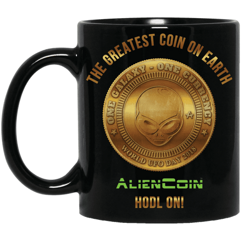 AlienCoin HODL ON! 11 oz. Black Mug