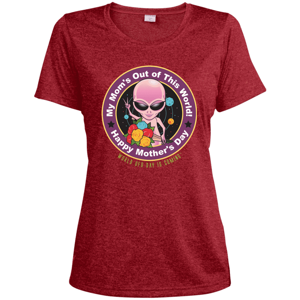 "ALIEN Mother's Day ""My Mom's Out of his World"" Ladies' Dri-Fit Moisture-Wicking Tee"