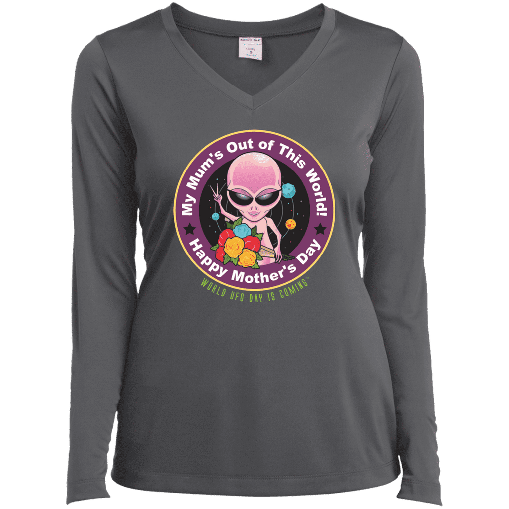 "ALIEN Mothers' Day ""My Mum's Out of This World"" Ladies' Performance V-Neck T-Shirt"