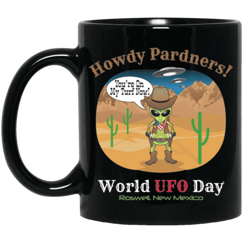Howdy Pardners! World UFO Day Alien Cowboy Black Mug