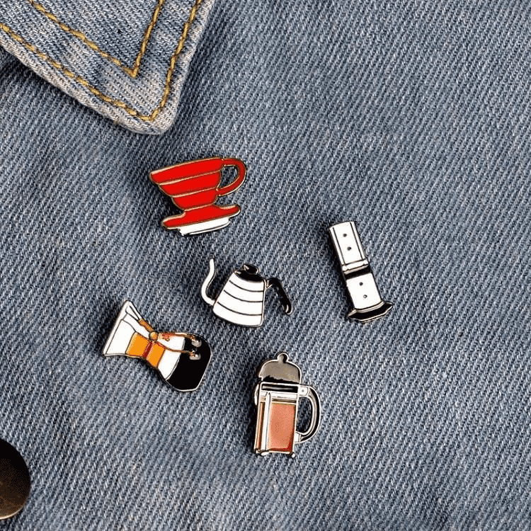 Coffee Accessory Enamel Pins