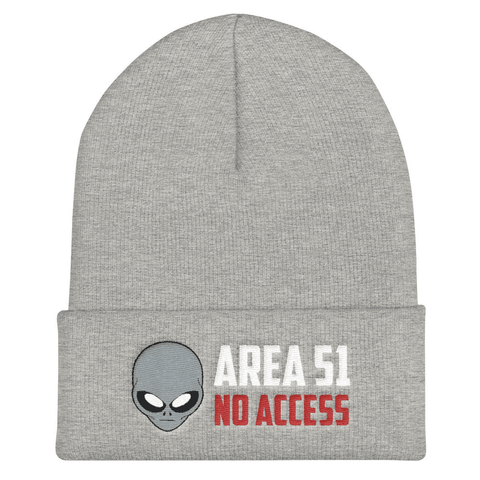 "World UFO Day ""AREA 51 NO ACCESS"" Embroidered Cuffed Beanie - Grey Alien Head"