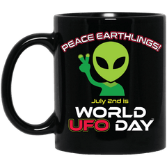 "World UFO Day 2018 ""Peace Earthlings"" Black Mug"