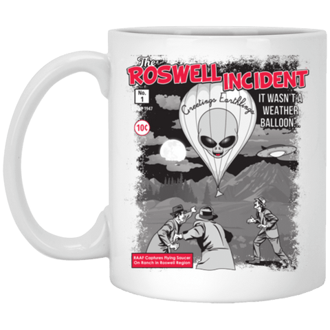 """The Roswell Incident July 1947"" World UFO Day White Mug"