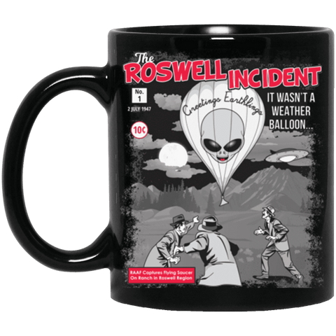 """The Roswell Incident July 1947"" World UFO Day Black Mug"