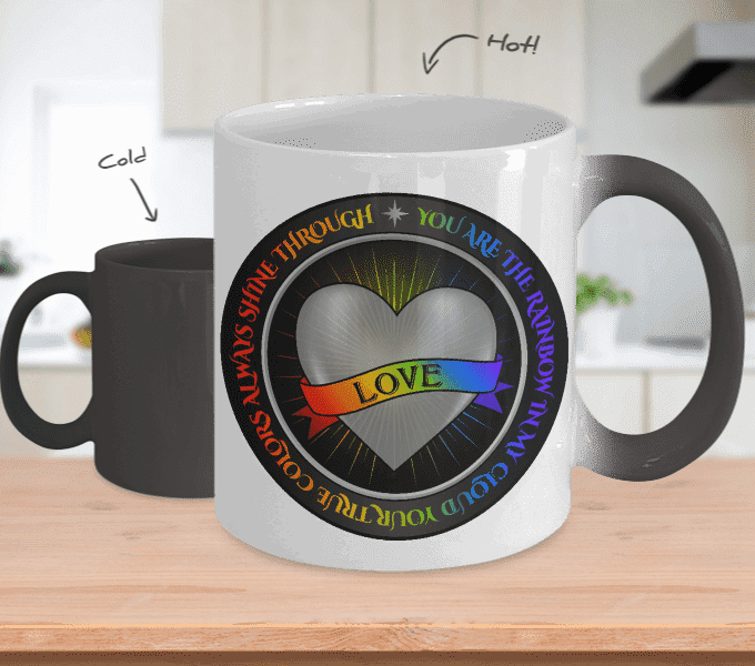 Rainbow Love Silver - Color Changing Mug