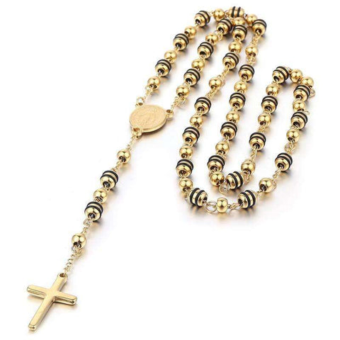 Cross Pendant Necklace - Rosary Bead Style Necklace With Cross