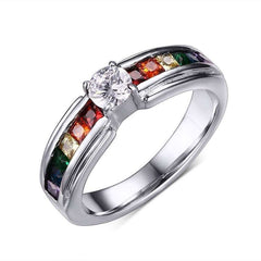 Rainbow Crystal Engagement Ring