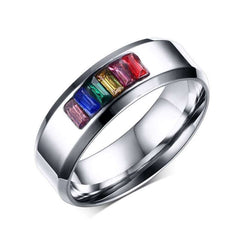 Rainbow Pride Color Stone Ring