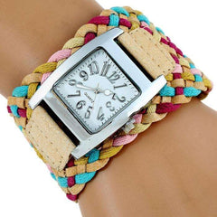 Rainbow Braided Leather Band WristWatch
