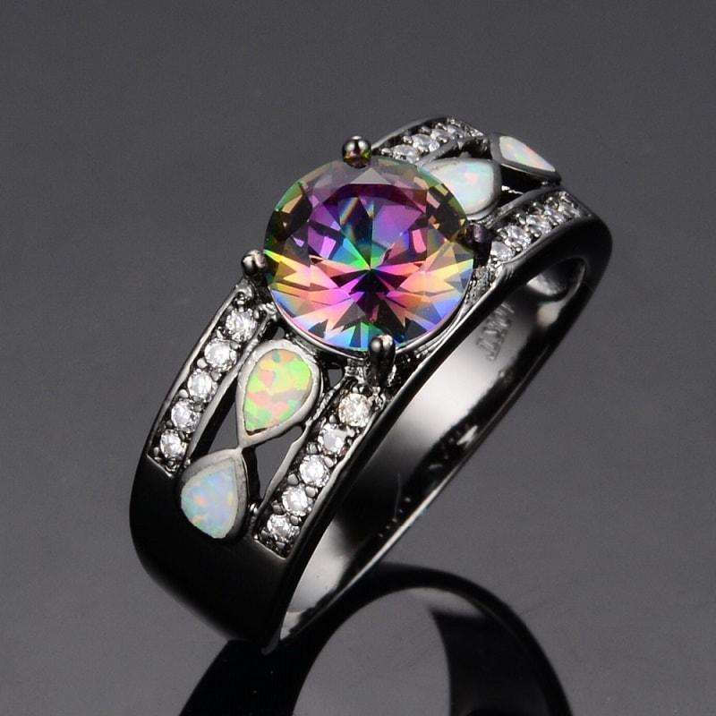 Rainbow Opal Engagement Ring