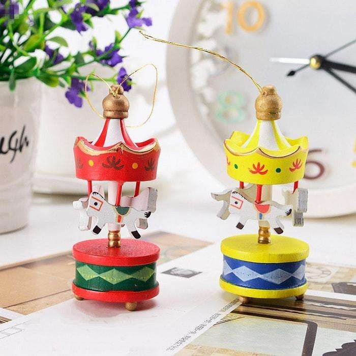 Mini Christmas Wooden Carousels - Set of 6