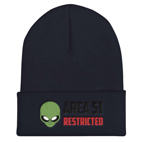 "World UFO Day ""AREA 51 RESTRICTED"" Embroidered Cuffed Beanie - Green Alien Head"