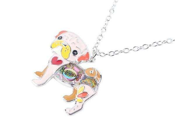 Pet Jewelry - Pug Dog Necklace And Pendant