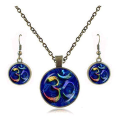 Yoga Jewelry Set - Yoga Mandala Style Necklace And Earring Set