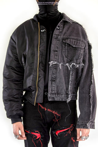 Merged Bomber Denim Jacket